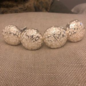 4 Anthropologie Feather Imprinted Knobs